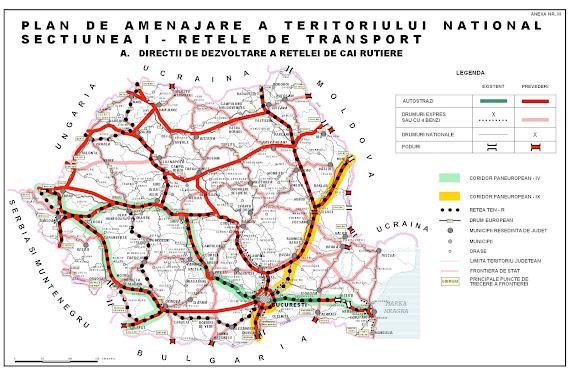 Harta autostrăzilor şi drumurilor expres din România