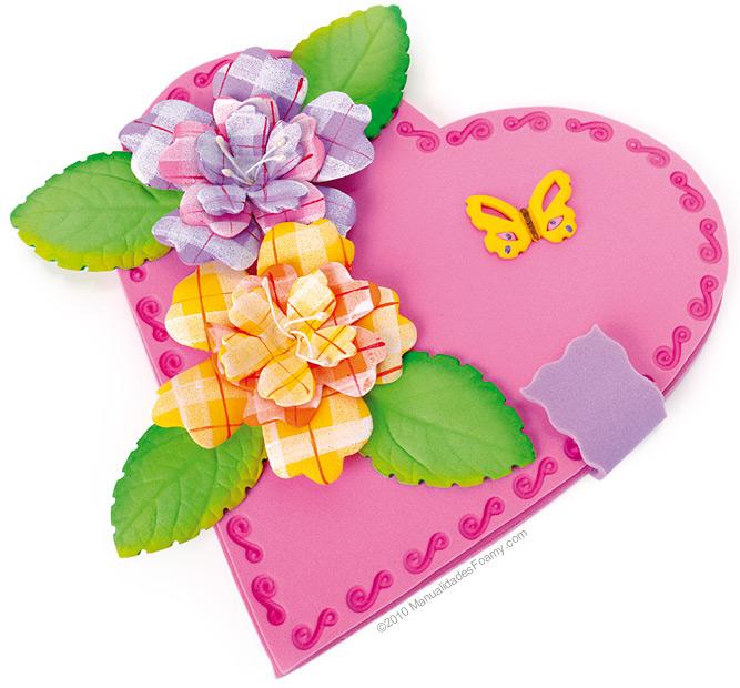 Cartão dia das mães coração de EVA - Artesanato Brasil