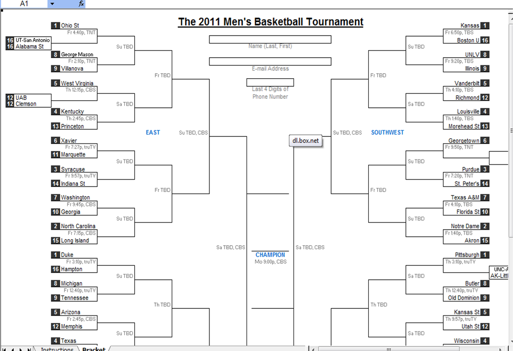 ... Spreadsheets Help: March Madness 2011 Best Downloadable Excel Bracket