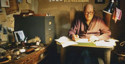Dahl in his writing hut