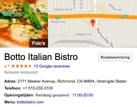 Botto Italian Bistro op Google+