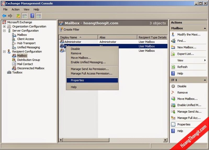 Xem thông tin Database của Mailbox trên Mail Exchange Server 2007