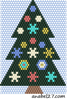 новогодняя елка схема кирпичное плетение christmas tree brick beading pattern