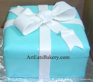 Custom Unique Tiffany blue birthday present cake design with pearl white bow