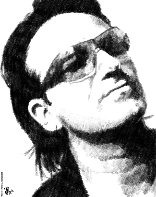 Pencil sketch of Bono Vox, using Krita 2.5.