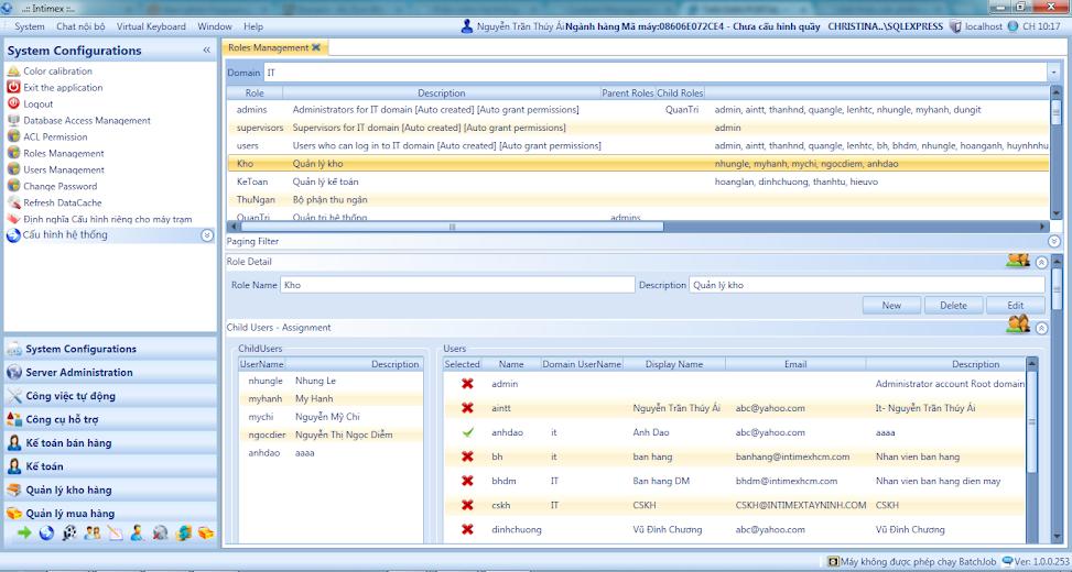 Phân quyền quản lý cho các chi nhánh (users) trong hệ thống.