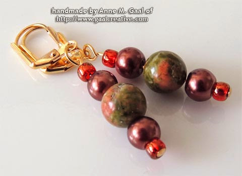 Unakite and Copper Leverback Earrings handmade by Anne Gaal of http://www.gaalcreative.com