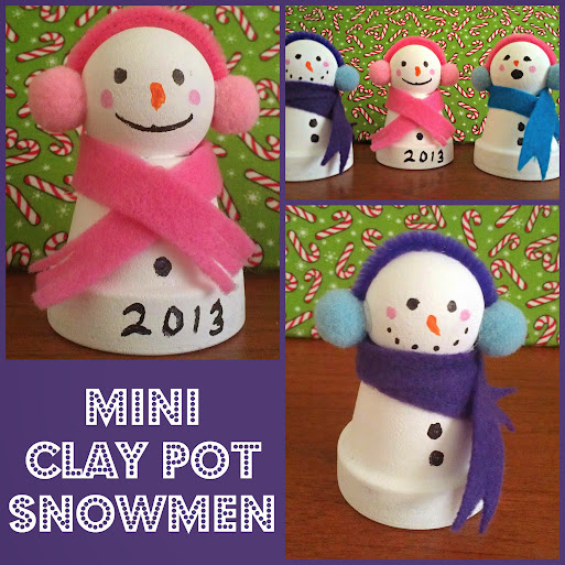 Snowmen Crafts: Mini Clay Pot Snowmen #CIJ13