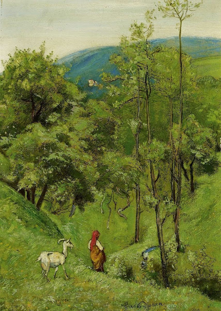 Hans Thoma - Shepherd Girl with a goat in the meadow of rolling hills