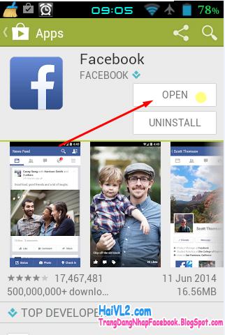 cài đặt facebook lên điện thoại android thành công