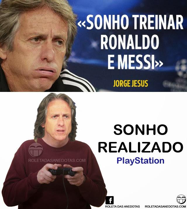 Jorge Jesus realiza sonho de treinar Cristiano Ronaldo e Messi