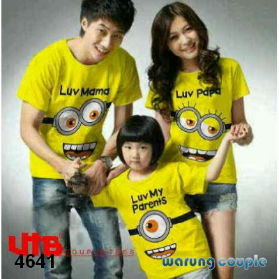 Kaos Couple Family Murah Smile Minion Kuning
