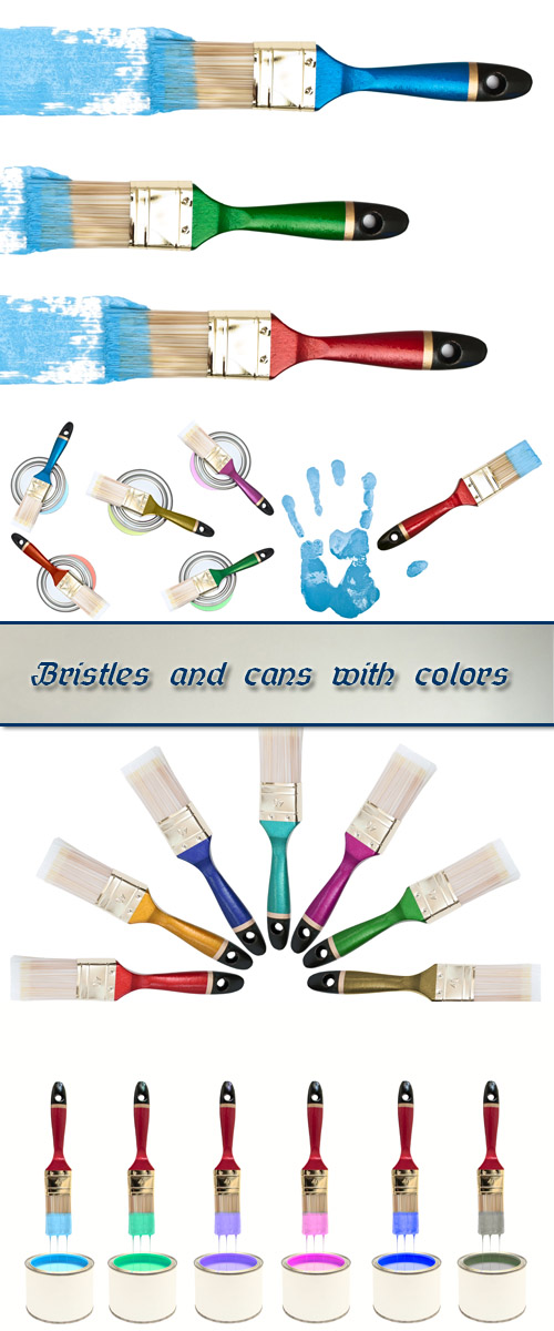 Stock Photo: Bristles and cans with colors