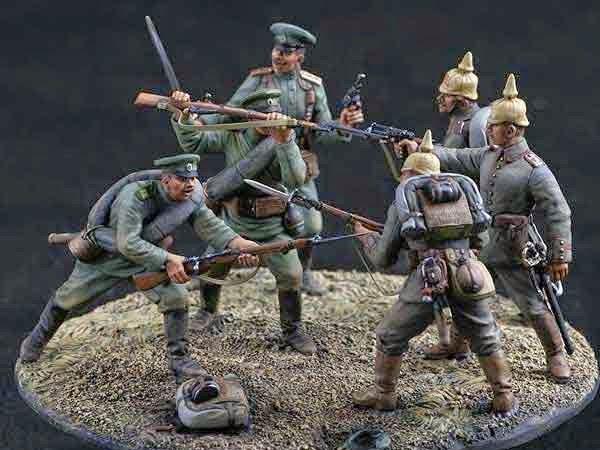 Русская и германская пехота в бою