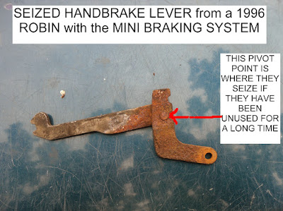 SEIZED HANDBRAKE LEVER from a 1996 ROBIN with the MINI REAR BRAKING SYSTEM