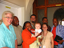 Here's Matimu with all the Peace Corps staff (well, a lot of them); and they were just thrilled to meet him!