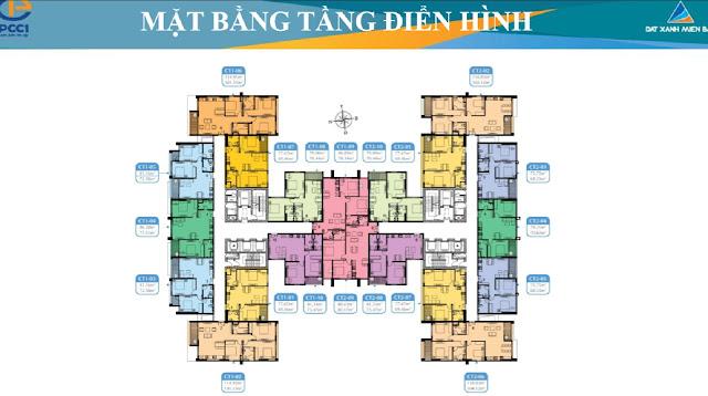 Mặt bằng căn hộ 2 ngủ chung cư Mỹ Đình Plaza 2