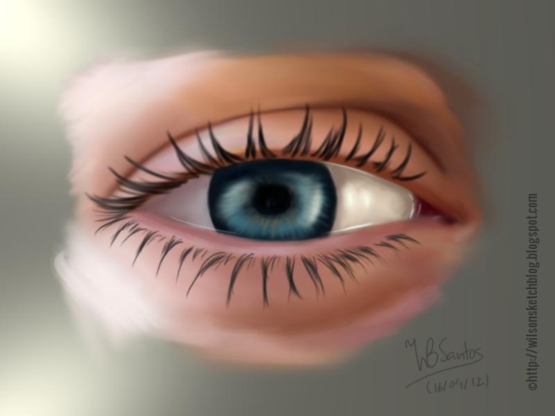 Sketch of an eye, using Gimp Paint Studio.