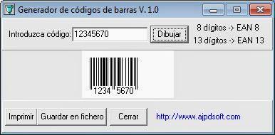 Aplicación AjpdSoft Generador de códigos de barras en Delphi 6