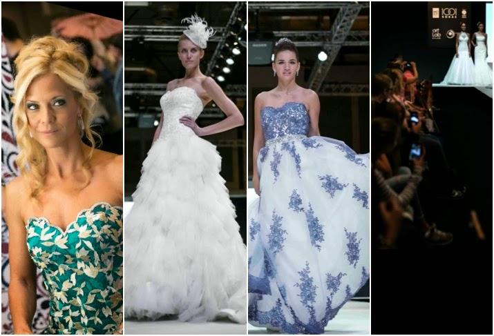 fotografías de diferentes modelos luciendo vestidos de novia de la firma Vertize Gala durante la pasarela  de las mil y una bodas que se celebra cada año en Madrid.