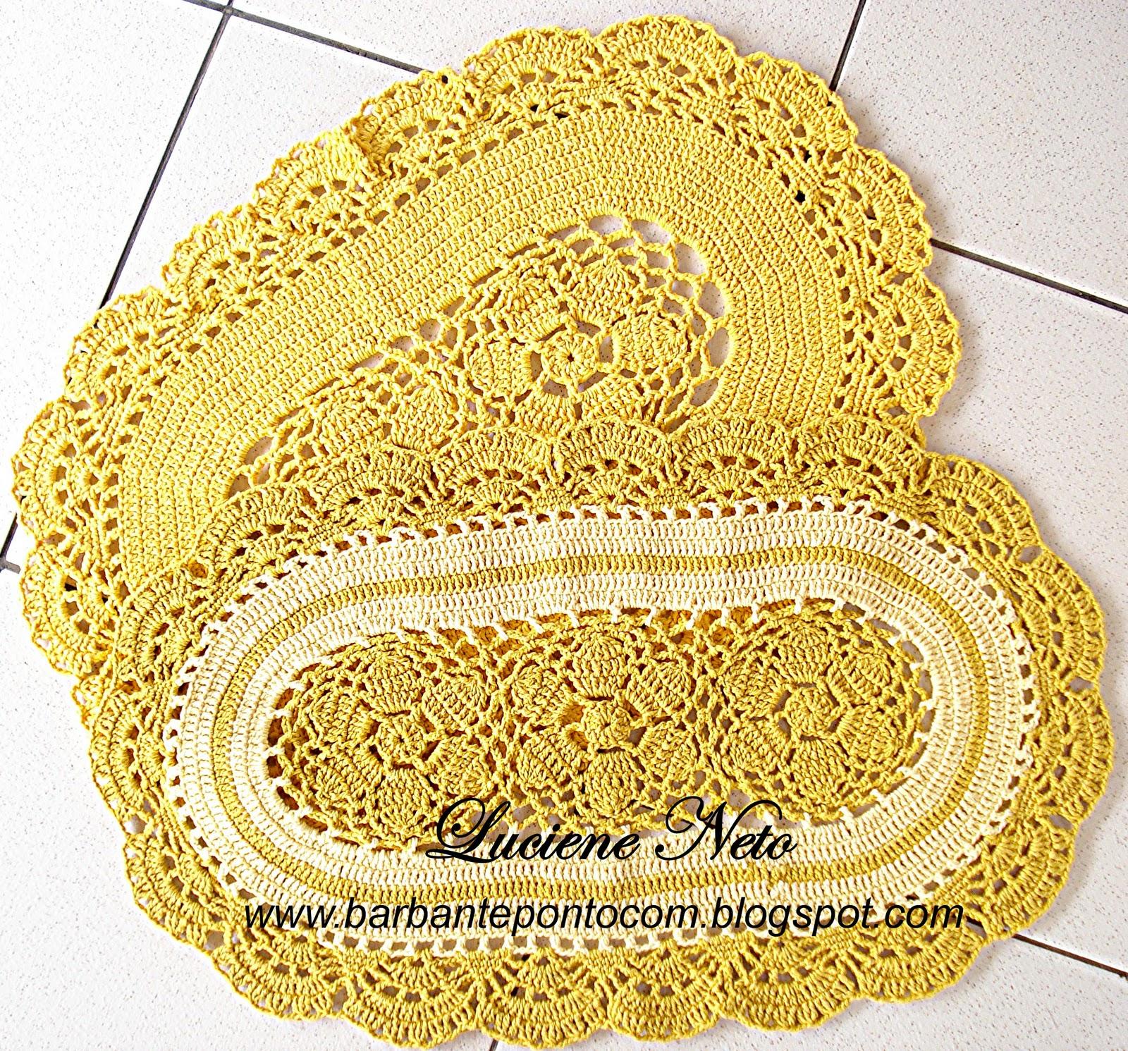 Tapete Oval Amarelo Barbante Pioneiro barbantepontocom #7E3C0F 1600 1491