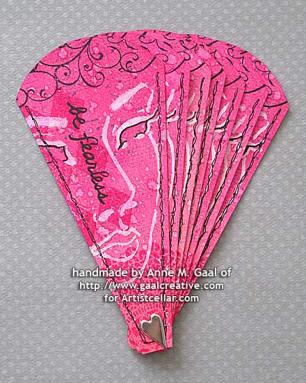 Be Fearless Paper Fan, shown closed, by Anne Gaal of Gaal Creative at www.gaalcreative.com - Feel free to pin and re-pin! ♥