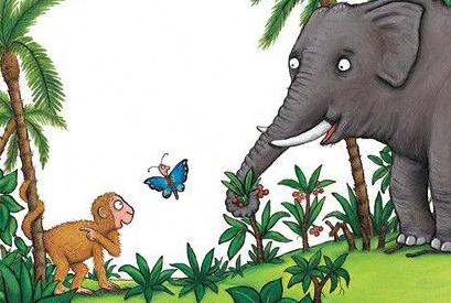 A imagem mostra a ilustração de um livro infantil, contendo um macaco, uma borboleta azul e um elefante com folhagens ao redor.