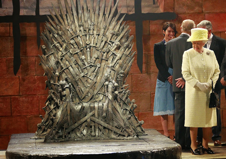 Britain's Queen Elizabeth visits Game of Thrones' Iron throne
