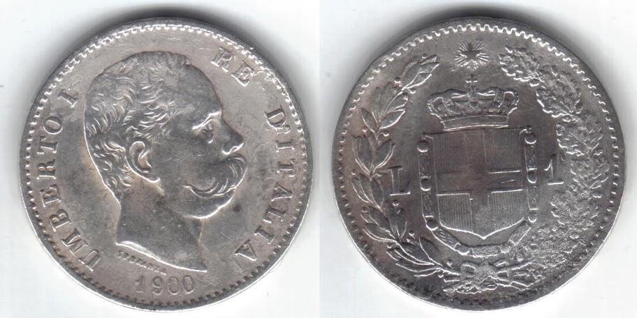 Mi colección de monedas italianas. 1%20lira%201900%20R