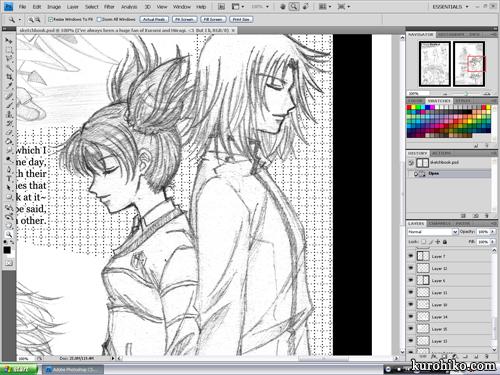 wip 2011.11.01 - mote-mote sketch - kuromi / kurumi nui and hiiragi keiichi