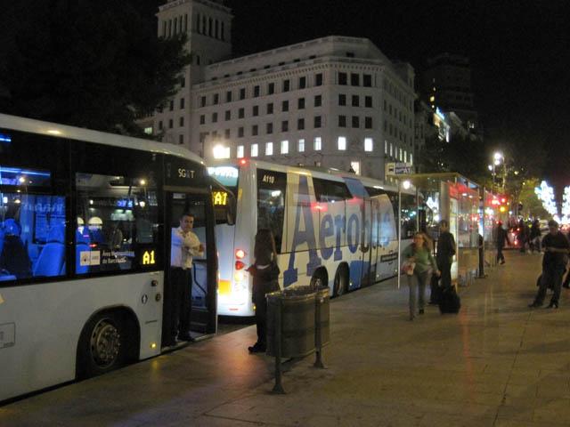 カタルーニャ広場アエロブス乗り場@バルセロナ