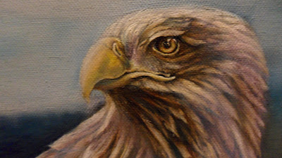 Work in Progress, Colour level 2. Source shows close up of Resting white-tailed eagle head.