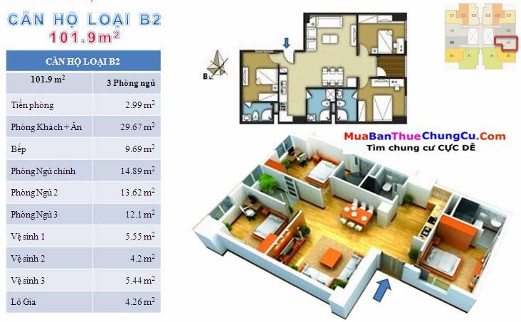 Thiết kế căn hộ B2 101.9m2 The Pride