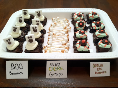 Halloween Boo Brownies, Ogre Ear Wax Q-Tips, and Goblin Eye Brownies