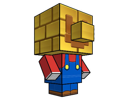 Gold Block Mario Papercraft