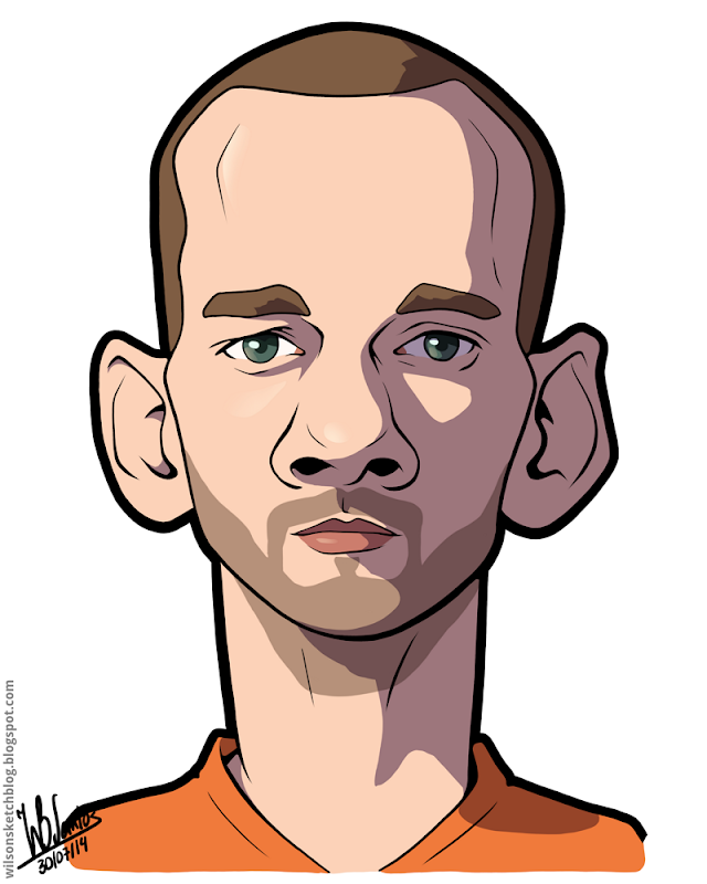 Cartoon caricature of Wesley Sneijder.