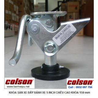 Bộ khóa sàn xe đẩy Colson Mỹ tổng chiều cao khi khóa 159mm | 6002x5