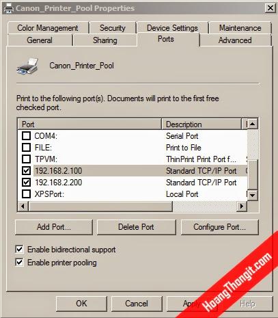 Tạo mới printer thành một Printer Pool