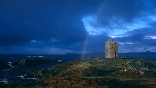 Rainbow and Castle Ruins, Ireland.jpg