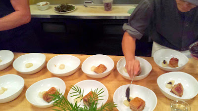 Nodoguro PDX September 2014, theme dinner Totoro. Seventh Course: Chiashu with Turnip, Miso, and Walnut, a dish that is a nod to Spirited Away also by Hayao Miyazaki