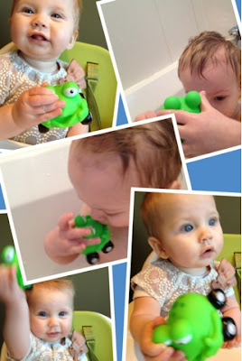 Maegan and Blake Clement playing with Jungle Junction Toadhog bath toy