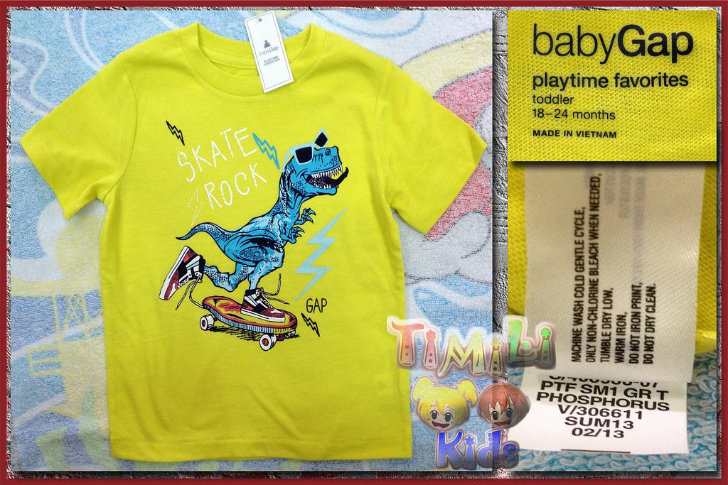 Áo thun bé trai BabyGap vietnam xuất khẩu, khunglongSkate