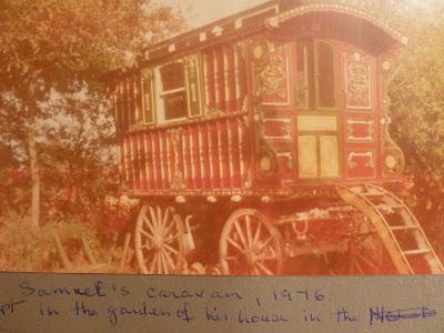 Samuel's caravan, 1976, in a garden in Newton Road.