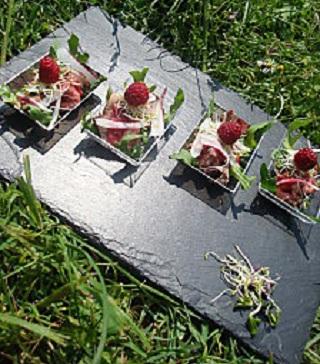 bouchées de rosbif aux framboises