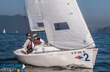 J/22 sailing in Three Bridge Fiasco regatta in San Francisco