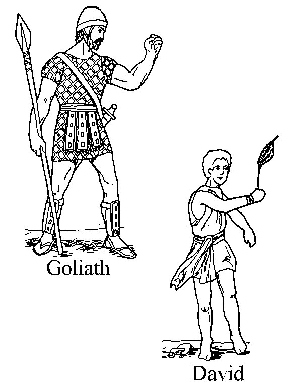 Goliath y David para colorear