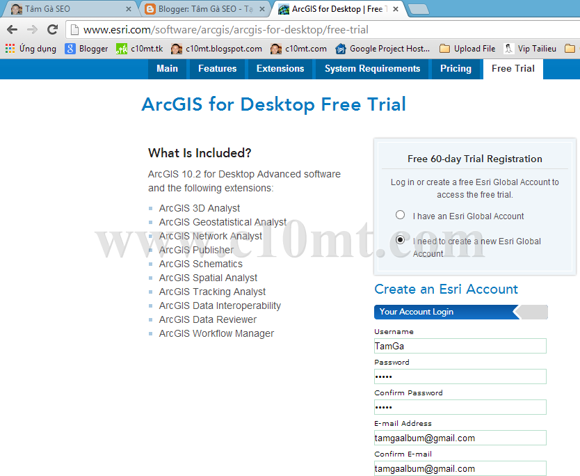 Hướng dẫn tải chương trình ArcGIS for Desktop 10 2