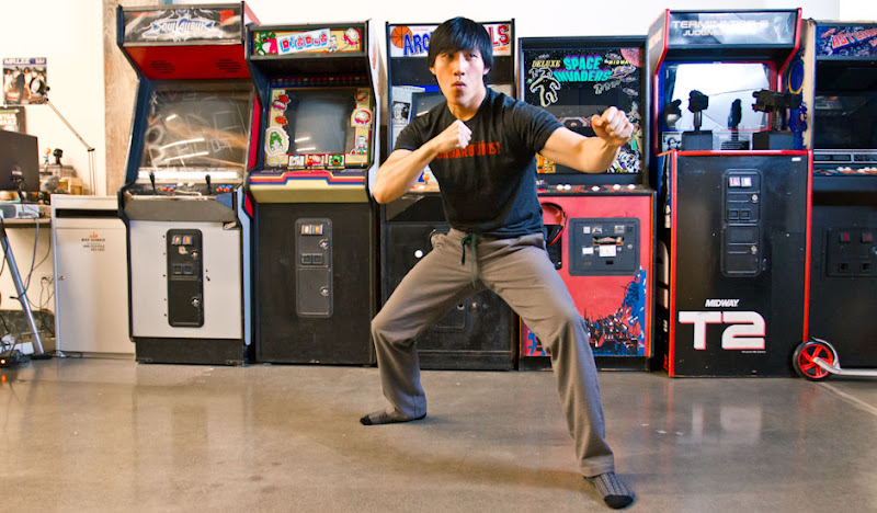 Gray Karate Casuals Chris in fighting stance