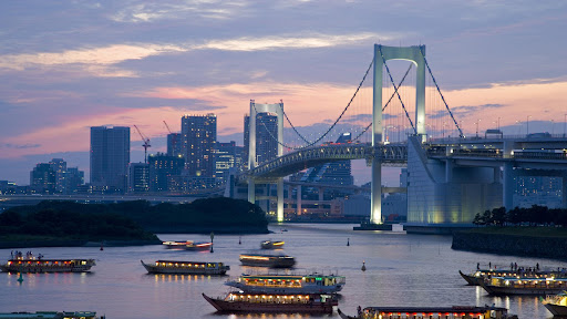 Evening View of Rainbow Bridge and Houseboats, Tokyo, Japan.jpg