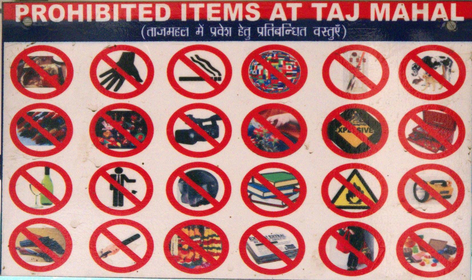 Prohibited items at Taj Mahal